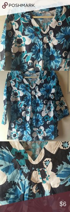 Hot Cotton Top Brightly colored 100% linen top by Hot Cotton.  Great Vacation shirt, or whenever shirt. Very pretty. Small slits at the waist hem. Size medium.  No stains no flaws  Smoke free home Hot Cotton Tops
