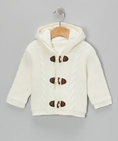 Look at this Ivory Toggle Hooded Coat - Infant on #zulily today!