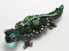 VTG RARE D Juliana Fabulous Figural BOOK PIECE LARGE Lizard Rhinestone Brooch  carolsjewelrycorner (seller) e-bay.com $350.00