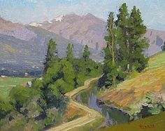 """""""Canal, Bitterroot River Valley"""" by Billyo O'Donnell. Pretty landscape painting looking out over a winding road and valley, to purple mountains."""