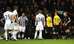 Roberto Pereyra of Watford (37) is sent off during the Premier League match between West Bromwich Albion and Watford at The Hawthorns on December 3, 2016 in West Bromwich, England.