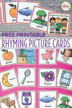 Use these free rhyming picture cards with the Down By The Bay song. Kids love matching the rhymes on the cards and using them to extend the classic song during circle time. Use with the song, book, or use them for matching activities.a fun way for teac Rhyming Kindergarten, Rhyming Activities, Preschool Songs, Preschool Literacy, Preschool Printables, Early Literacy, Kindergarten Reading, Classroom Activities, Preschool Language Activities