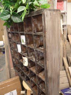 Old fashioned barber mug shelf.  Distressed barnwood technique.  Large coffee mug shelf, vintage and rustic look. $249.99, via Etsy.