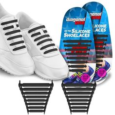 4352a159d2f Diagonal One No Tie Shoelaces Kids   Adults. The Elastic Silicone Shoe Laces  to Replace Your Shoe Strings. 16 Slip On Tieless Flat Silicon Sneakers Laces   ...