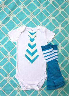 Baby Boy Summer Fashion Aqua Teal Chevron Tie Onesie and Football Striped Leg Warmers Set.  Chevron fabric in Yellow, Black, Gray, more.. $24.95, via Etsy.