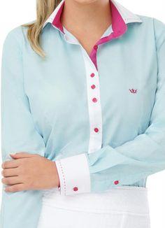 Camisa Feminina Manga Longa Azul Principessa - Principessa Camisaria