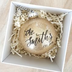 24 Newlywed (and Newly-Engaged) Christmas Ornaments That Are As Precious As You Guys Wedding Christmas Ornaments, Couples Christmas Ornament, Christmas Gifts For Couples, Wedding Ornament, Personalized Christmas Ornaments, Diy Christmas Gifts, Christmas Ideas, Christmas Time, Engagement Ornaments