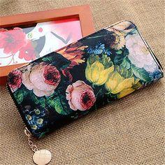 Women-Ladies-Flower-Long-Purse-Zip-Around-Bag-Handbag-Wallet-Clutch-Card-Holder