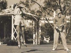1937. Badminton at home with husband Franchot Tone.