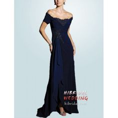 Navy Blue Beaded Lace Bridal Tall Mother of the Bride Dress