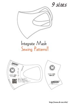 Integrate Mask Sewing Patterns This is the pattern of a Integrate Mask. Sewing Patterns Free, Free Sewing, Free Pattern, Sewing Hacks, Sewing Projects, Sewing Crafts, Diy Mask, Diy Face Mask, Face Masks