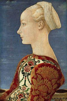 Антонио дель Поллайоло (1431-1498) - Портрет молодой женщины в профиль.