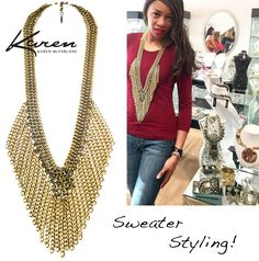 Sweater Styling! Simone Riding-Cunningham rocks the go-to sweater and jeans look with a Karen McFarlane chain necklace @ Artemis Fashion Jewellery!