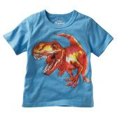 Roar! He's ready to conquer the great outdoors in this fun dinosaur graphic tee.