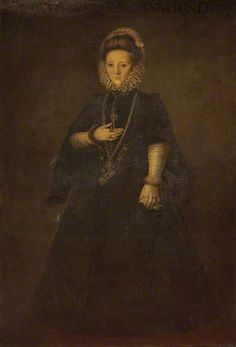 Spanish Noble Woman (from the Court of Philip II) by Juan Pantoja de la Cruz   Lancaster City Museums Date painted: 1598  This painting depicts a Spanish noble woman at the Court of Philip II of Spain. The artist was a pupil and follower of the Spanish Court painter, Sanchez Coello