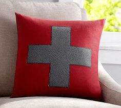 Swiss Cross Applique Pillow Cover #potterybarn