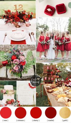 Red wedding theme for classic brides,This is a timeless colour palette with a lot of drama,work well for a wedding at any time of the year,red wedding ideas