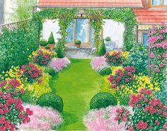Gestaltungsvorschlag für einen Reihenhausgarten