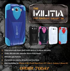 Armed with dual layer protection, the Militia, rugged Samsung Galaxy S3 cases, protects and defends your phone against impacts and scratches.