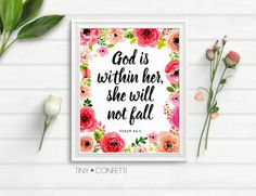 God is within her she will not fail, God is within her she will not fall wall art, bible scripture, bible quote, christian, bible verse, PDF by TinyConfetti