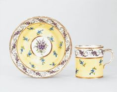 1793-1800 French Sèvres Cup and saucer in the Royal Collection, UK - Sèvres was known for its rich and bright colours; so seeing something made in such a pale yellow caught me by surprise. It's very pretty, though.