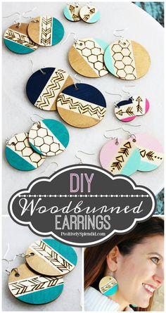 DIY Wood Burned Dangle Earrings - A fun handmade jewelry gift idea to make in 30 minutes or less! #plaidcreators