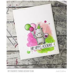 """139 Likes, 9 Comments - Jodi Collins (@kharmagirl) on Instagram: """"Happy Hippos, enamel dots and a #distressink background, these are a few of my favorite things!!…"""""""