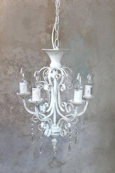 Kronleuchter Lüster Lampe weiß antik Vintage Landhaus shabby Pendelleuchte Decke