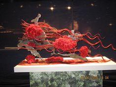 """""""Volcano"""" Candle Arrangements, Floral Arrangements, Flower Arrangement, Mechanical Design, Simple Flowers, Arte Floral, Ikebana, Volcano, Flower Designs"""