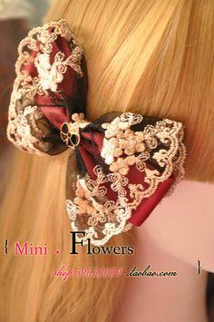 一件包邮「MINI 家」超仙女 韩国蕾丝蝴蝶结发夹 手工韩版发饰品-淘宝网