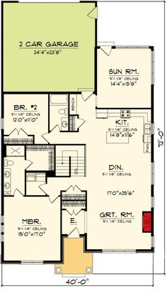 Plan 89864AH: 2 Bedroom Bungalow With Sunroom