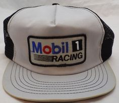 fe4ad0a9306 new 1980 s vintage Mobil 1 racing Trucker mesh USA snapback hat baseball cap  90s Hats