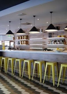 Bar with yellow tolix stools and vintage industrial cone lights. Design Café, Design Studio, Deco Design, Design Hotel, Cafe Design, Cafe Bar, Cafe Bistro, Deco Restaurant, Restaurant Design