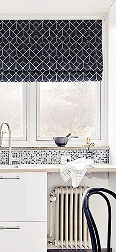 AmazonSmile: KARUILU home Quick Fix Washable Roman Window Shades Flat Fold, Geometric Color Pattern (30W x 63H, Leaves): Home & Kitchen Shades Window, Window Blinds, Blinds For Windows, Desks For Small Spaces, Desk Space, Color Patterns, Valance Curtains, Home Kitchens, Roman