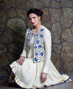 Indian Salwar Suit, Indian Suits, Indian Dresses, Indian Wear, Punjabi Suits, Balochi Dress, Jacket Dress, Cape Jacket, New Kurti Designs