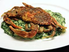 SOFT SHELL CRABS OVER CREAMED SPINACH: This is a delicious dish #crabs #spinach
