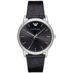 Emporio Armani Black Mens Luigi Black Leather Three-Hand Watch ($175) ❤ liked on Polyvore featuring men's fashion, men's jewelry, men's watches, black, mens leather strap watches, mens leather watches, blue dial mens watches, mens watches jewelry and mens watches