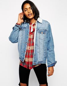 Image 1 ofASOS Denim Jacket in Mid Wash with Borg Lining and Collar