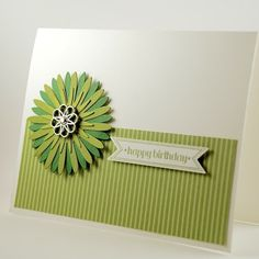 Happy Birthday Handmade Card With Green Flower And Filigree Brad