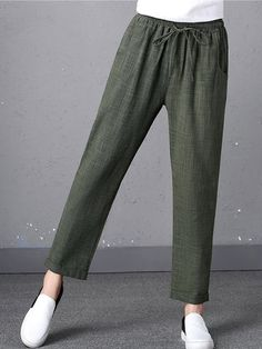 Gorgeous Casual Pure Color Drawstring Waist Pants For Women - NewChic Mobile Casual Hijab Outfit, Pants Outfit, Casual Pants, Linen Trousers, Trouser Pants, Fashion Pants, Fashion Outfits, Square Pants, Colored Pants