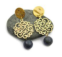 Filigree Dangle earrings Blue earrings Chandelier earrings