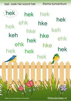 Zoek het woord hek, kleuteridee, thema tuincentrum voor kleuters