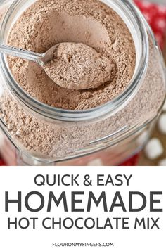 How to make the best homemade hot chocolate mix. Easy recipe, perfect for gifts in a jar. Makes a rich and creamy hot cocoa that'll warm you right up. More from my siteQuick and Easy Homemade Hot Chocolate Mix Hot Chocolate Gifts, Chocolate Bomb, Hot Chocolate Recipes, Nestle Quick Hot Chocolate Recipe, Cocoa Recipes, Coffee Recipes, Cocoa Powder Recipes, Cake Recipes, Nutella