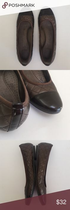 """Bronze/ Brown Flat Shoe • Size 10 Medium • Vaneli Comfortable & Flat Shoe • Size 10 Medium • Vaneli • Bronze/Brown w/Flat Quilted Print CHANEL Vibe • Brown Patent Leather Toe • So Comfortable • Size 10 • 1/4"""" Heel • Vaneli Shoes Flats & Loafers"""