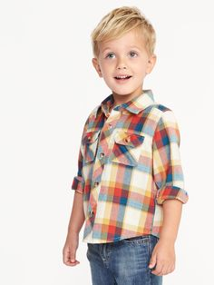 Plaid Flannel Utility Shirt for Toddler Boys | Old Navy
