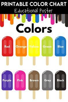 Preschool Charts, Body Preschool, Preschool Colors, Free Preschool, Preschool Printables, Preschool Worksheets, Color Flashcards, Flashcards For Kids, Color Names Chart