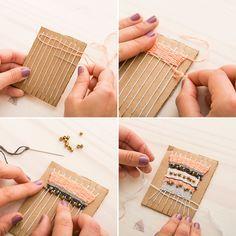 DIY a makeshift loom to weave a statement necklace. DIY a makeshift loom to weave a statement necklace. The post DIY a makeshift loom to weave a statement necklace. Weaving Projects, Weaving Art, Tapestry Weaving, Loom Weaving, Diy Projects, Tapetes Diy, Diy Collier, Diy Schmuck, Fabric Jewelry