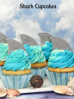 Make these Shark Tail Cupcakes for Shark Week and thrill your family and guests.