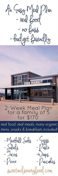 Ally's Sweet and Savory Eats: 2-Week Meal Plan for a Family of 5 for $170