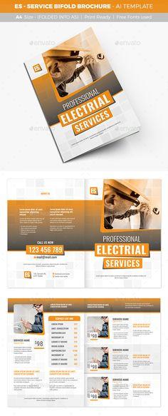 ES - Service Bifold Brochure Design - Catalogs Brochure Template Vector EPS, AI Illustrator. Download here: https://graphicriver.net/item/es-service-bifold-brochure/16895221?s_rank=9&ref=yinkira